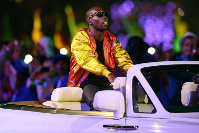 tinie tempah wearing burberry at the london 2012 olympic closing ceremony - 12 august 2012