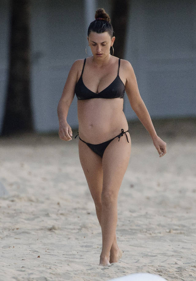 Pregnant PENELOPE CRUZ in Bikini on the Beach in Barbados