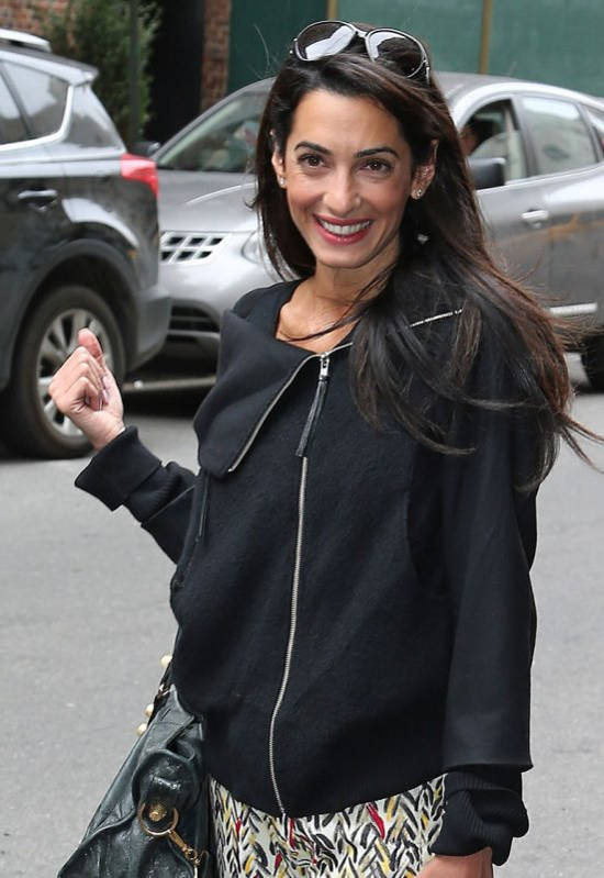 George Clooney's rumored lawyer girlfriend Amal Alamuddin checks out of there hotel leaves separately in New York City