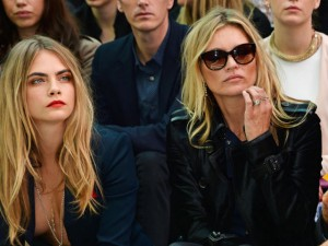 Cara Delevingne and Kate Moss wearing Burberry at the Burberry Prorsum Spring_Summer 2015 Show