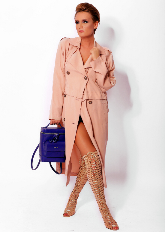 Blue bag and nude shoes