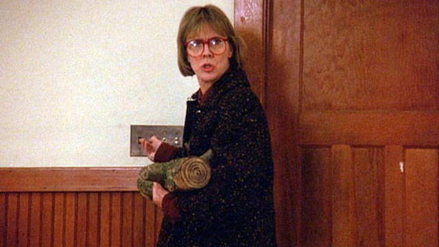 Catherine E. Coulson as The Log Lady stars in the pilot episode of the CBS television series 'Twin Peaks', 1990. (Photo by CBS Photo Archive/Getty Images)